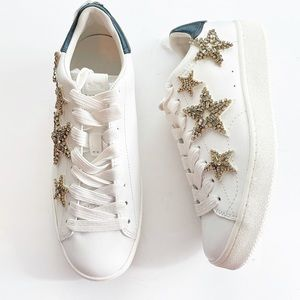 Coach Star Embellished Lace Up Sneakers White